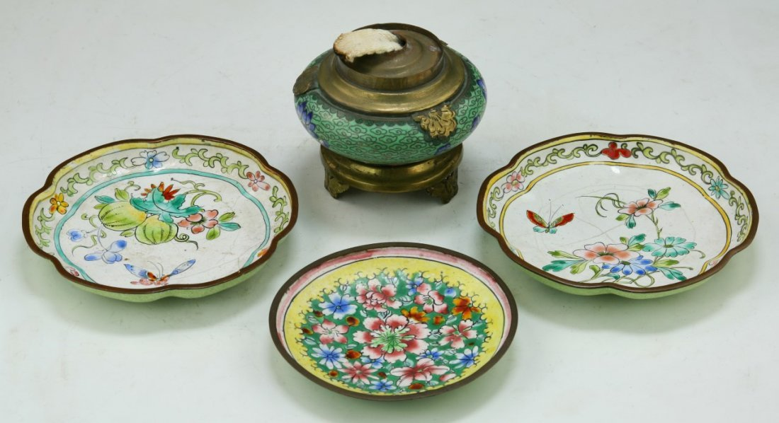 Lot Of 4 Chinese Cloisonne Bronze Bowls & Censer