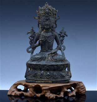 Chinese 16th/17th C. Antique Gilt Bronze Guanyin On