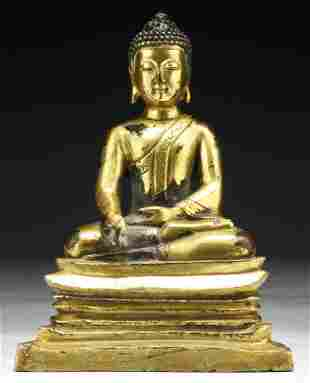 Chinese 18th C. Antique Gilt Bronze Buddha