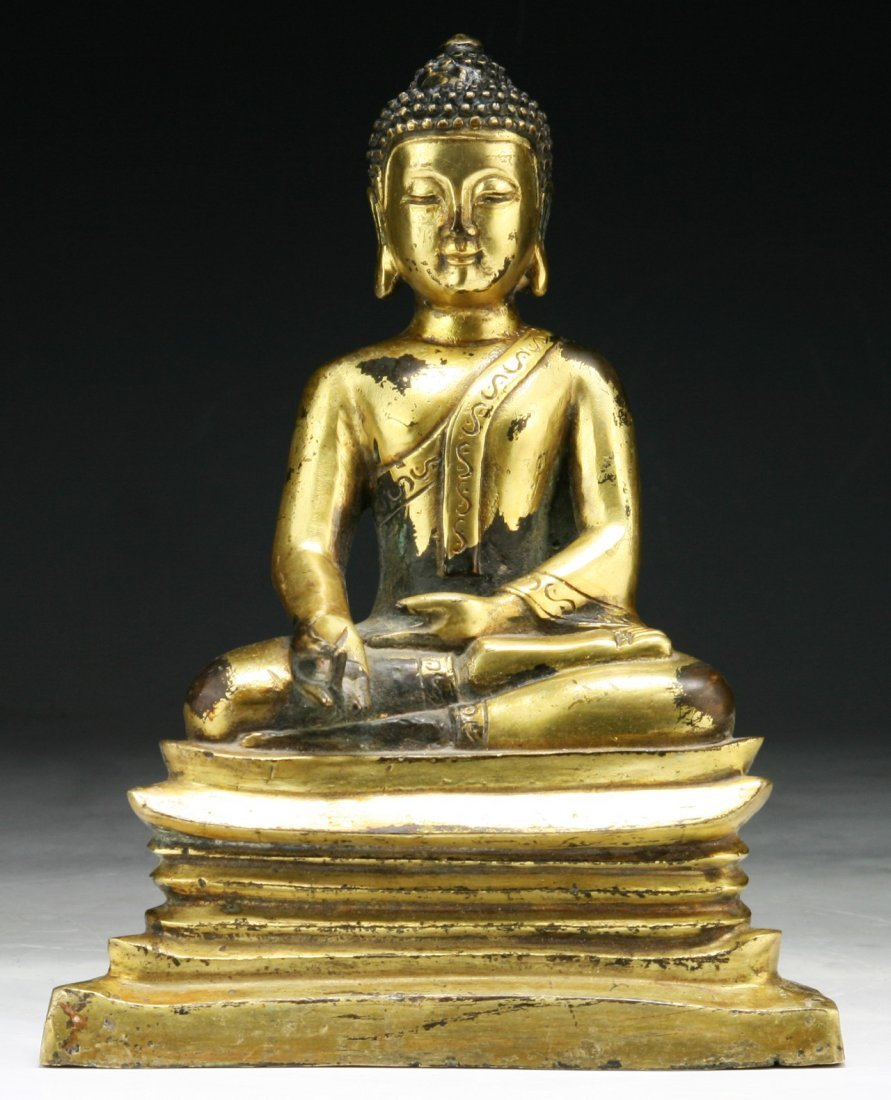 Chinese 18th C. Antique Gilt Bronze Buddha