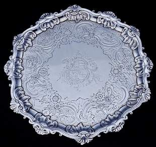 Fine Signed Large 18th C. Antique Sterling Silver Plate