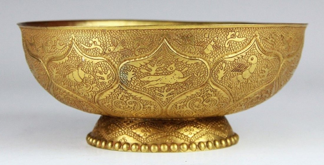 Very Rare Chinese TANG DYNASTY Gilt Silver Bowl