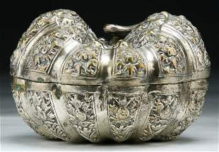 Fine Chinese 19th C. Antique Silver Box With Cover