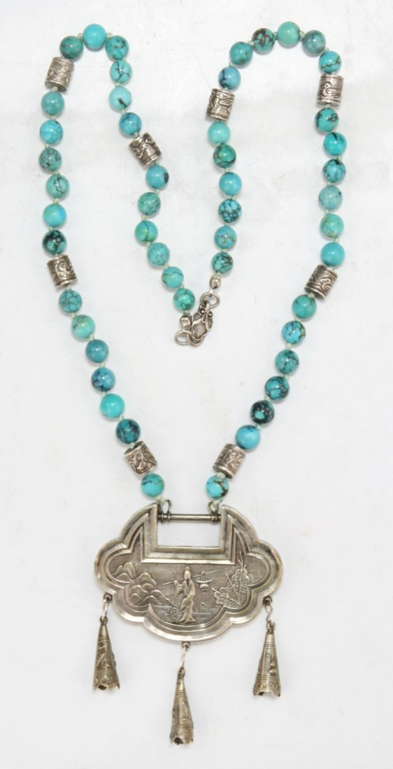 Chinese Antique Turquoise Necklace With Silver Pendant