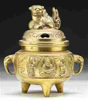 Chinese Gilt 18th/19th C. Bronze Censer