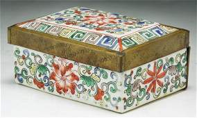 Signed Chinese 19th C. Famille Rose Porcelain Box