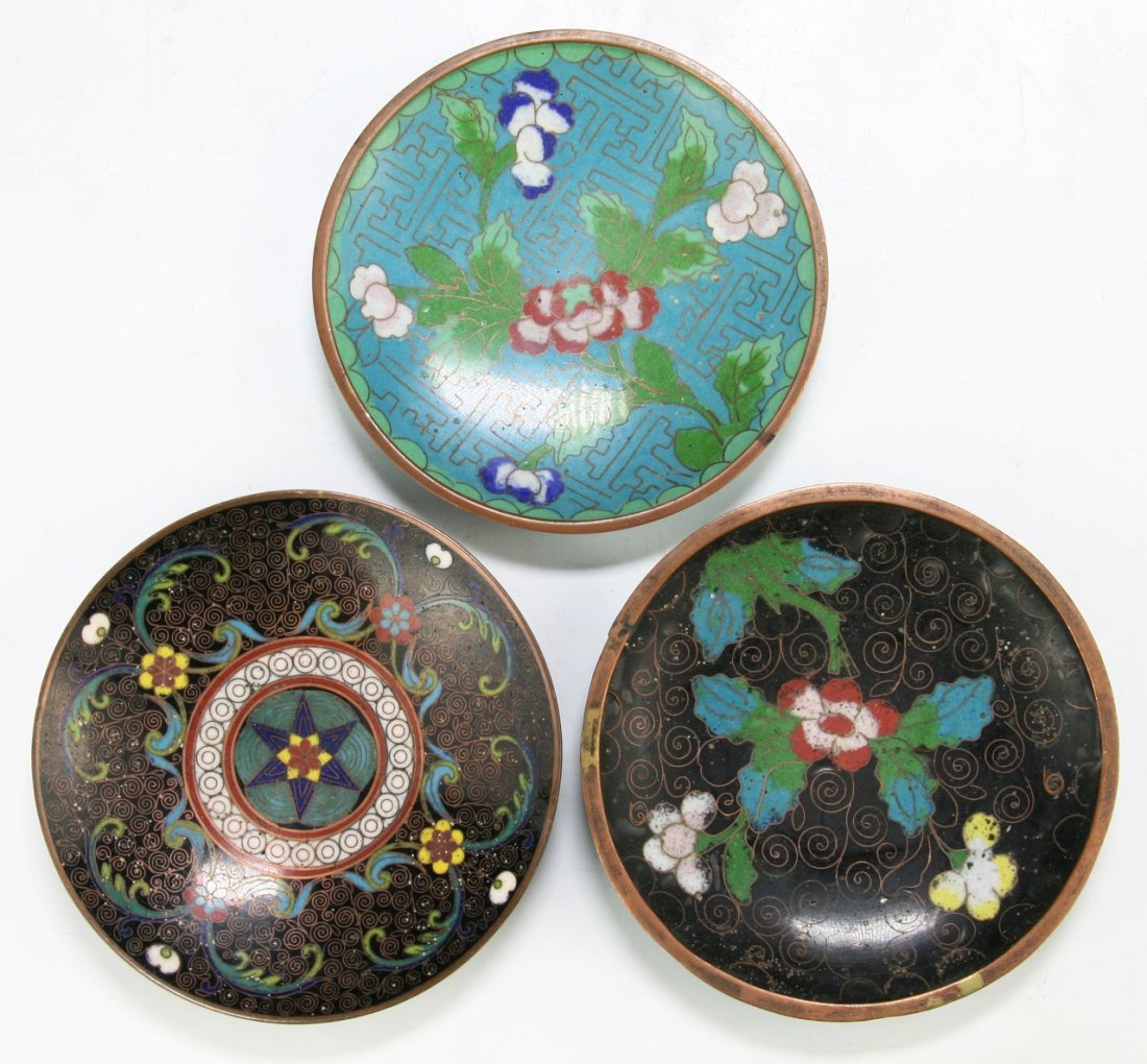 Lot Of 3 Chinese Cloisonne Bronze Plates