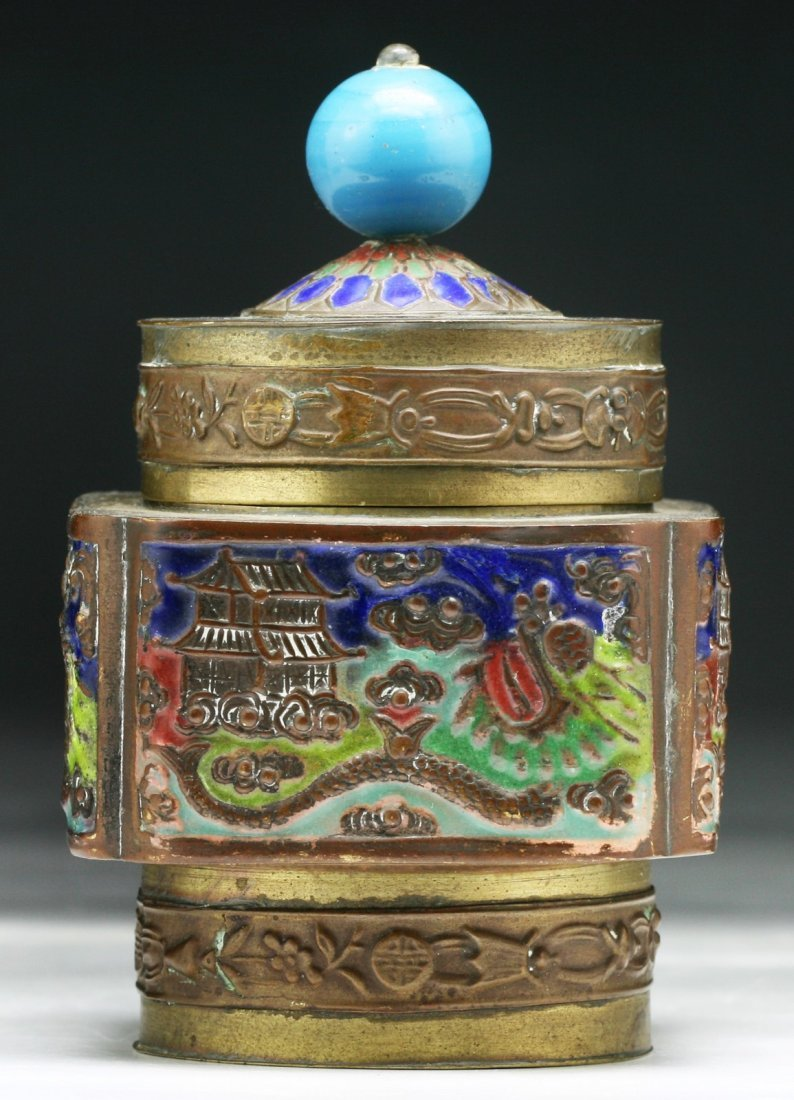 Chinese Antique Cloisonne Bronze Box