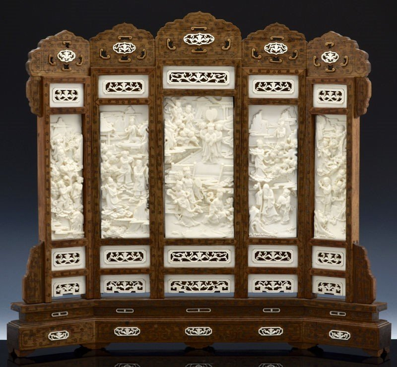 Fine Chinese 19th C. Huanghuali Wood Screen With Ivory