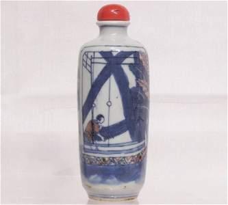 Chinese 19th C. Antique Underglazed Red B&W Snuff
