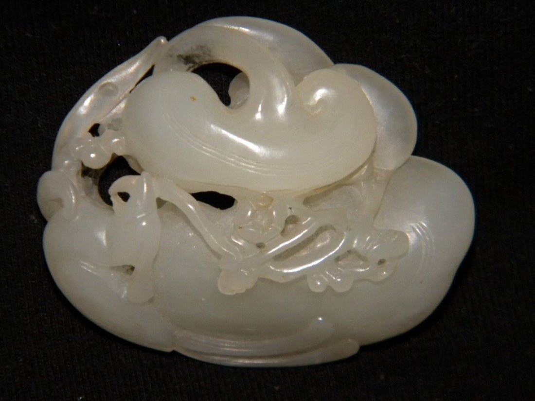 Fine Chinese Antique 18th C. Hetian White Jade Boulder