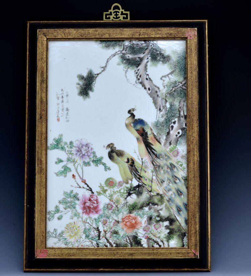 Chinese C. 1900 Antique Famille Rose Framed Porcelain