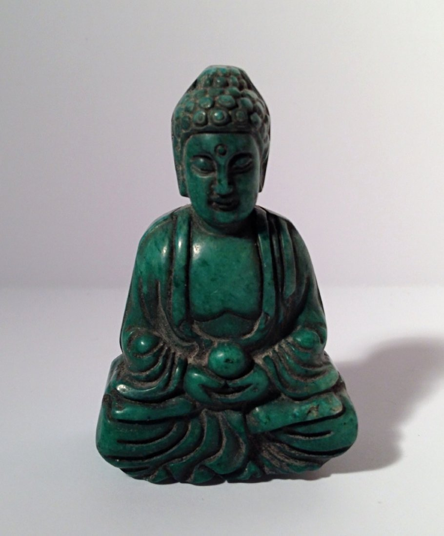 Green stone carved Buddha
