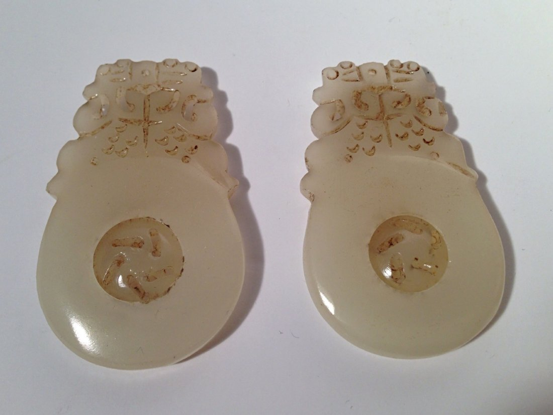 2 pieces Carved white jade