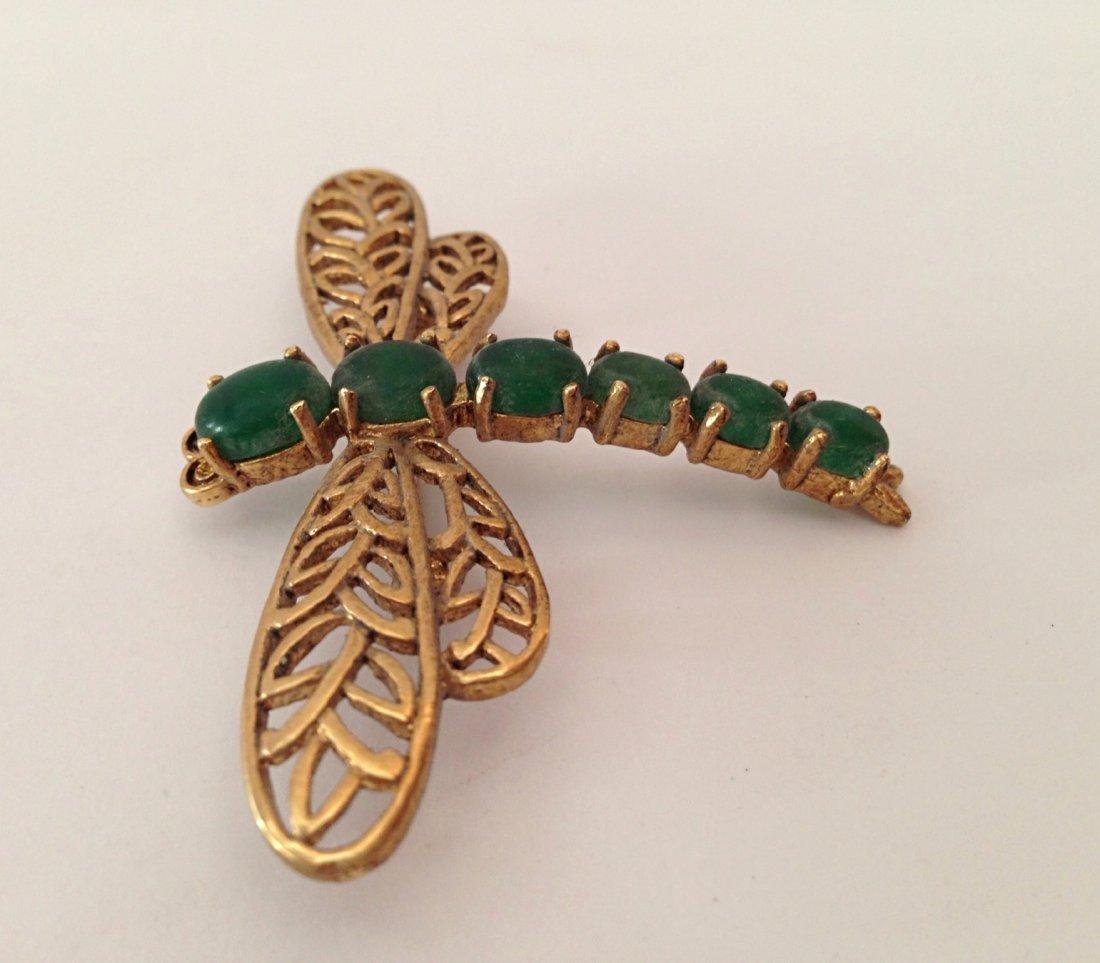Green jade dragonfly pendant