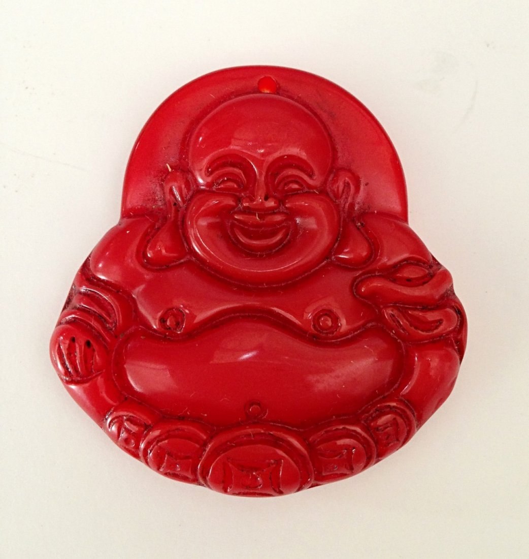 Red agate smiling Buddha pendant