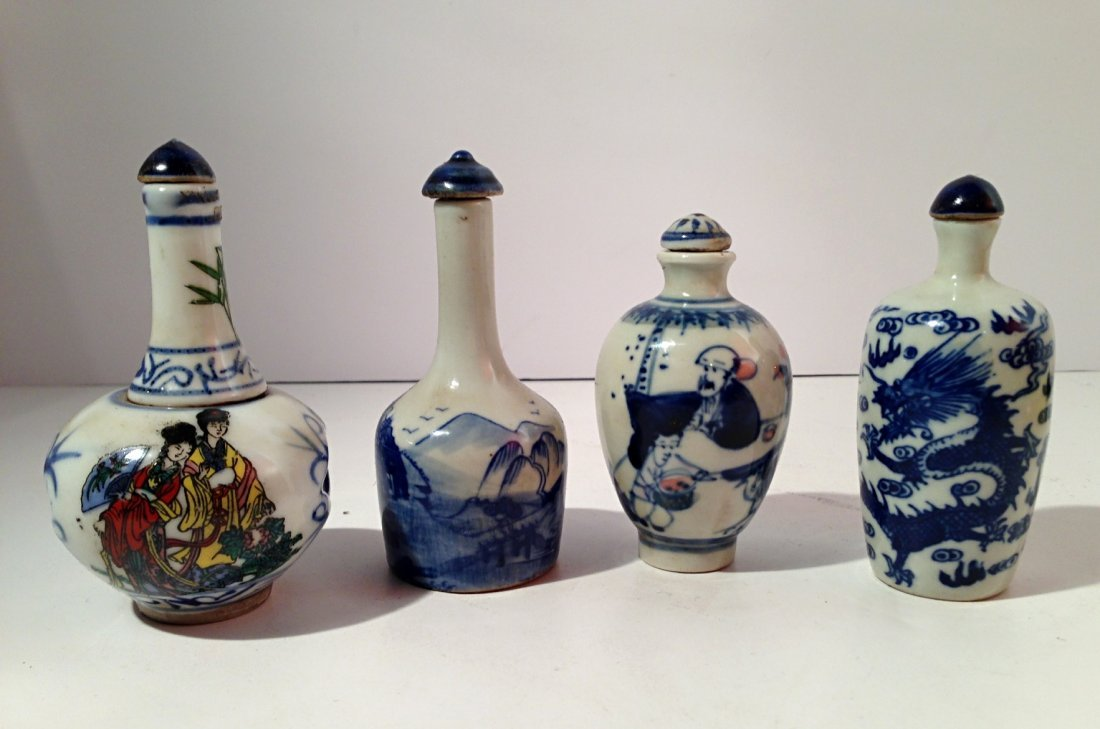 Group of blue and white porcelain snuff bottles