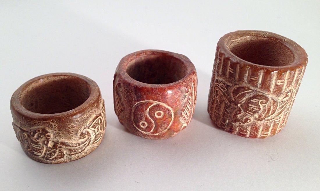3 PCS carved jade Thumb Rings