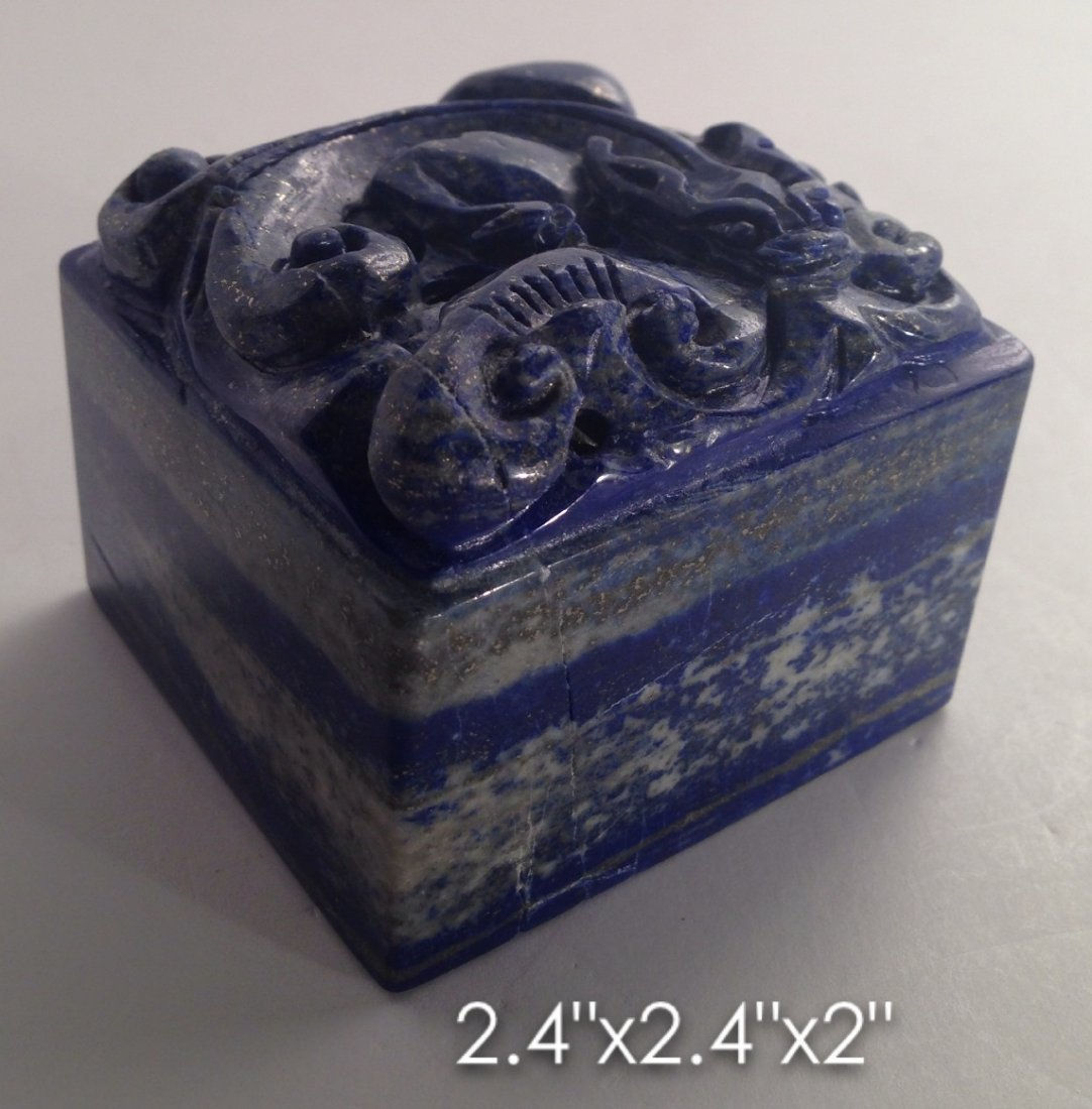 Carved lapis stamp with dragon on top