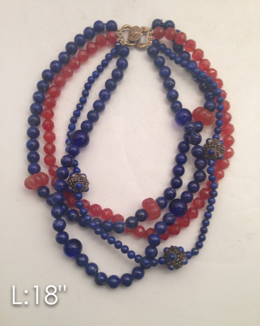 Alice kwo beaded necklace with three strands of one
