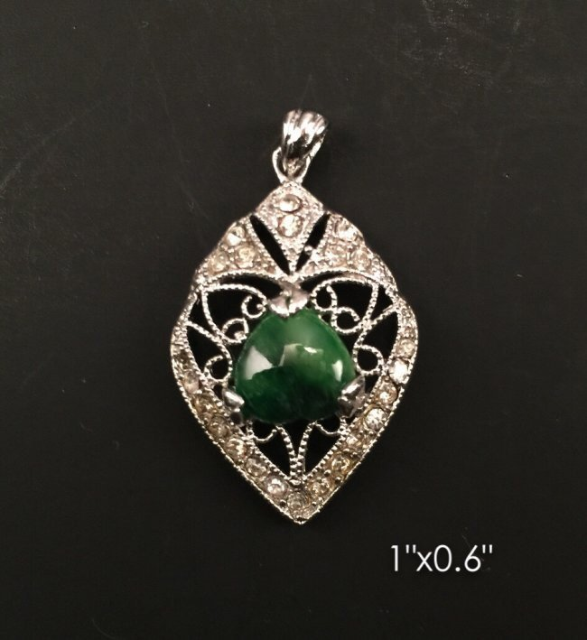 Green jade & Chinese silver pendant
