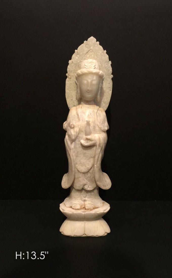 Carved jade Kwan yin