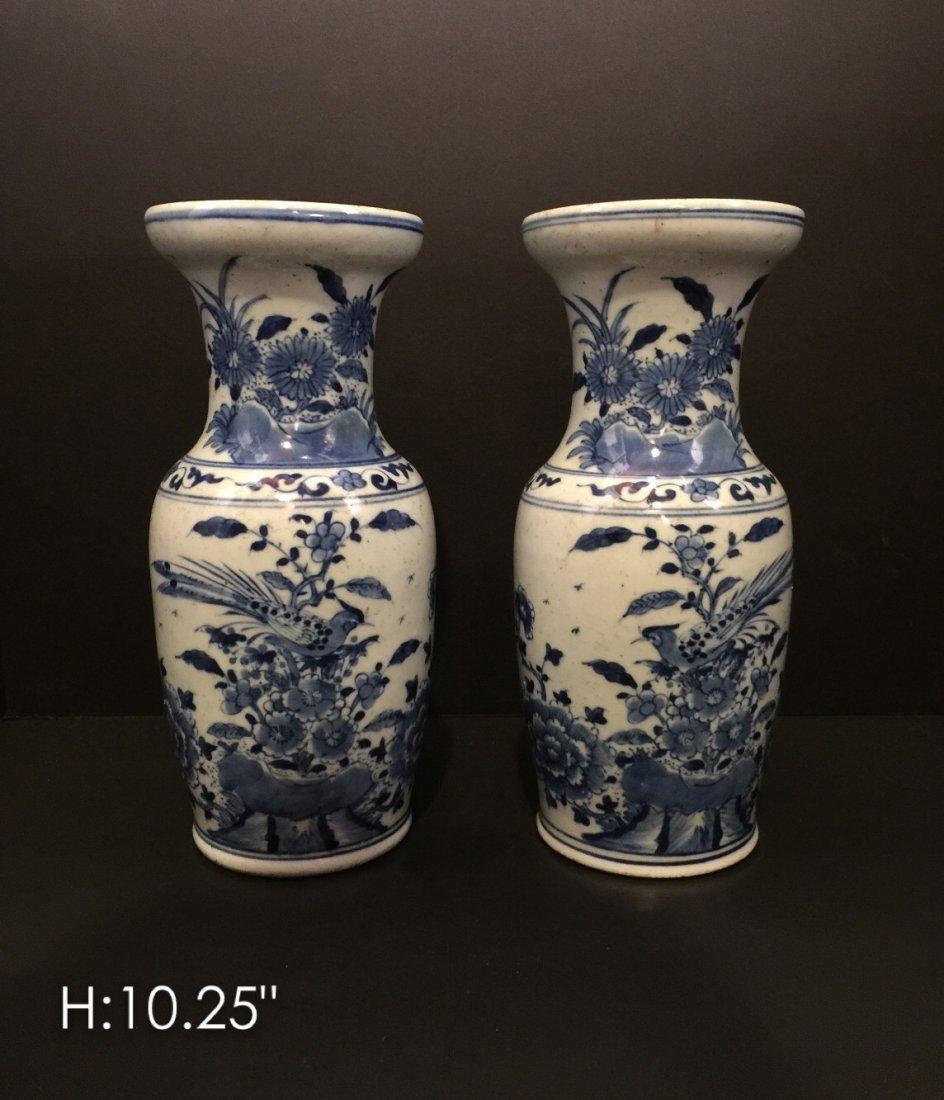 Pair of Chinese porcelain blue & white vases