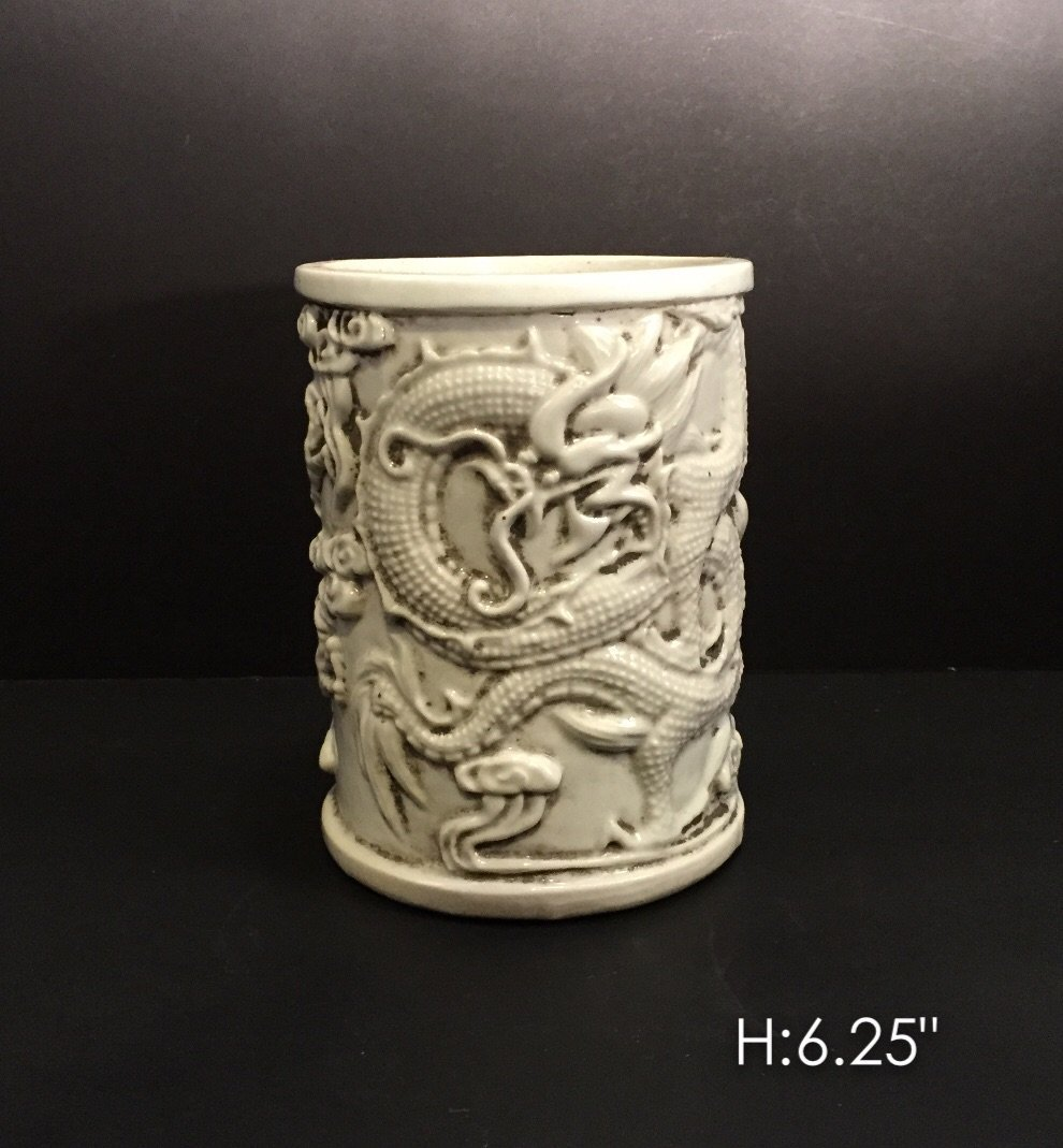 Chinese carved porcelain vase with dragon