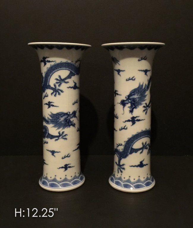 PAIR OF CHINESE PORCELAIN VASES WITH DRAGON
