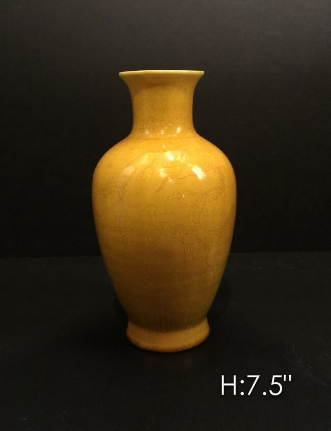CHINESE YELLOW PORCELAIN VASE WITH SIGNED