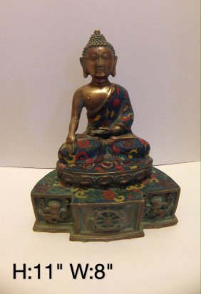 Carved Chinese Brass & CloisonnÉ Buddha