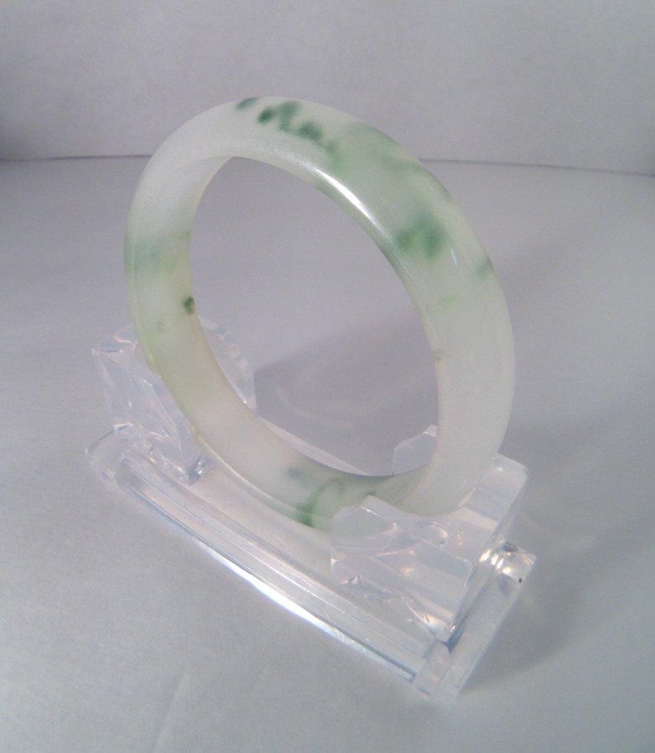 CHINESE GREEN & WHITE JADE BANGLE - 3