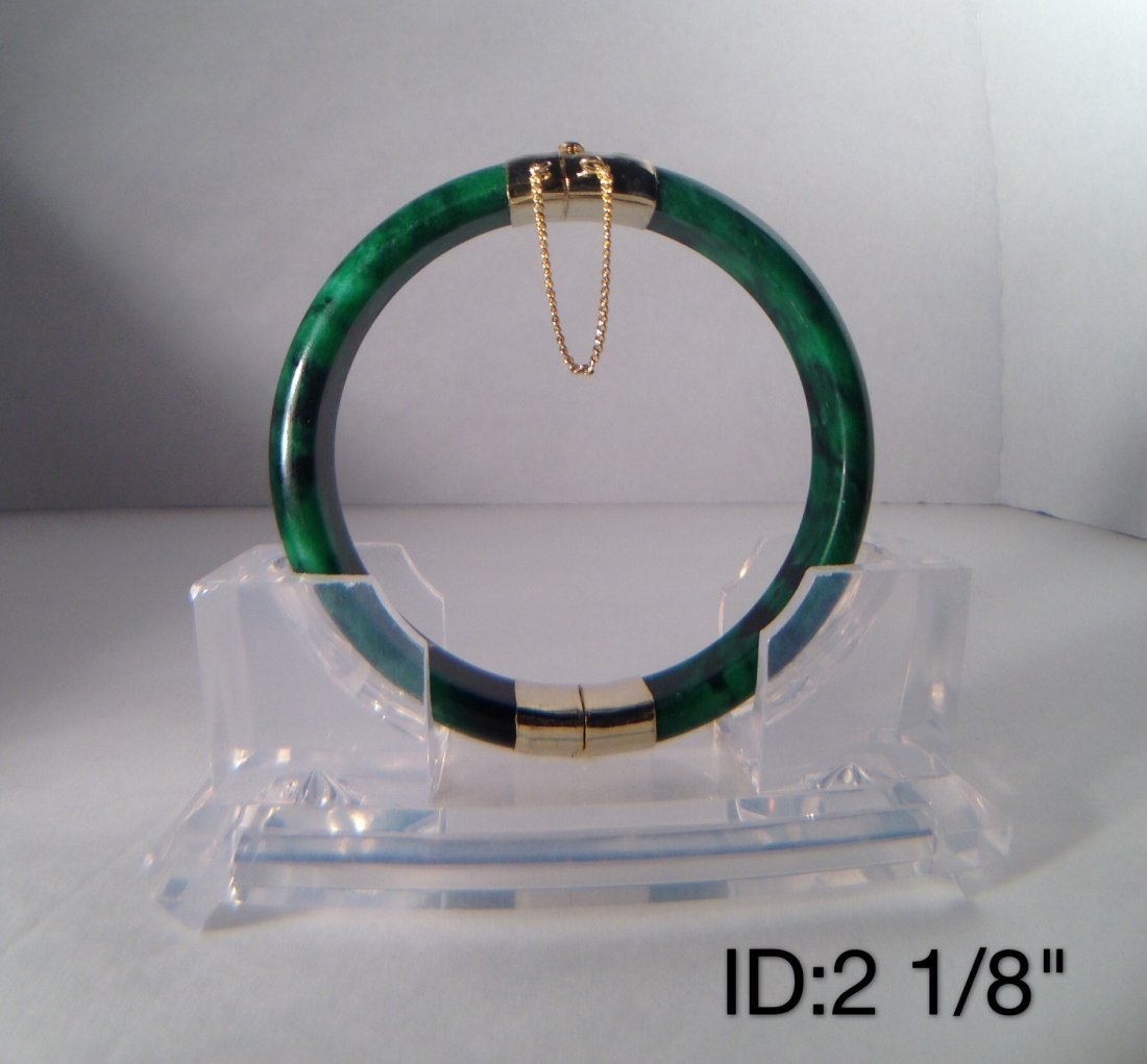 CHINESE GREEN JADE BRACELET WITH CLASP