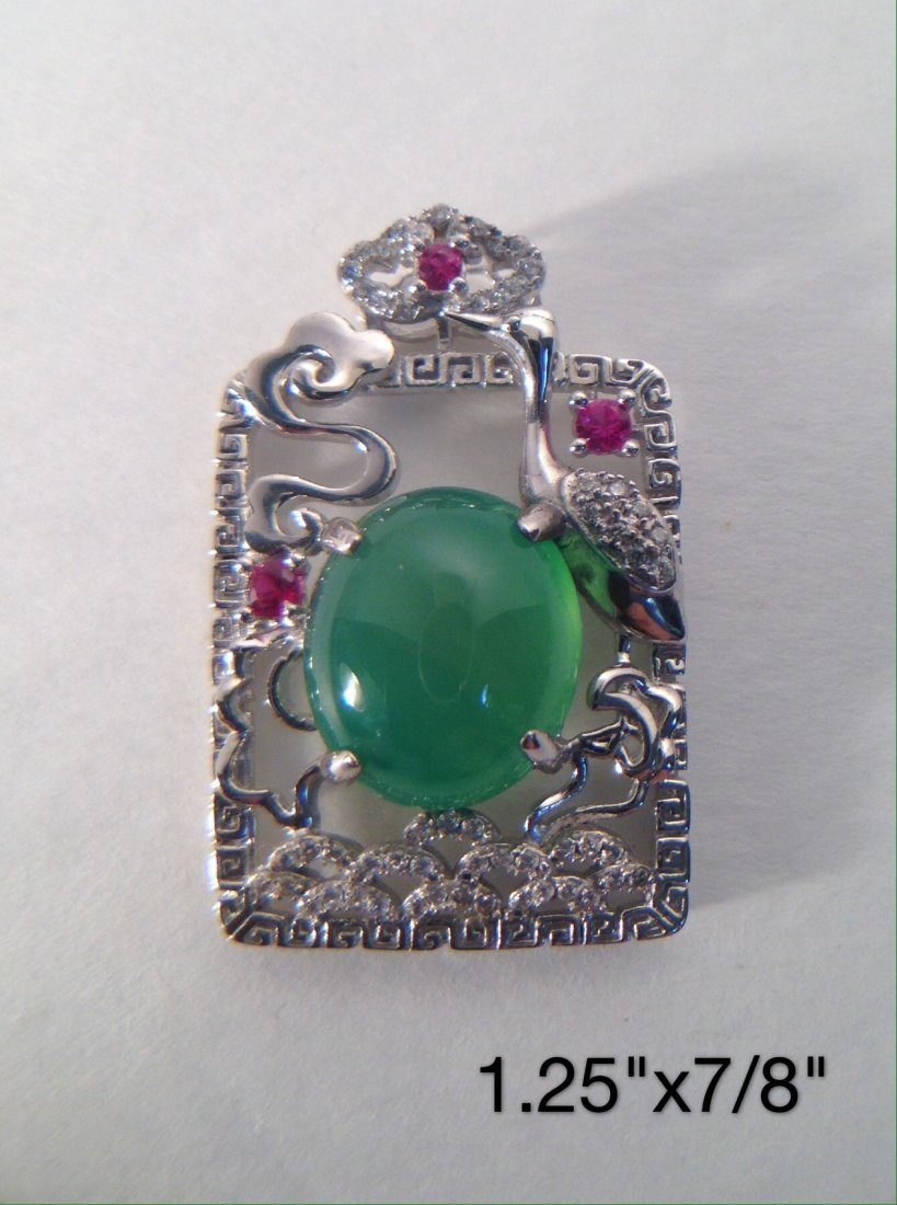 CHINESE GREEN JADE & S925 SILVER PENDANT