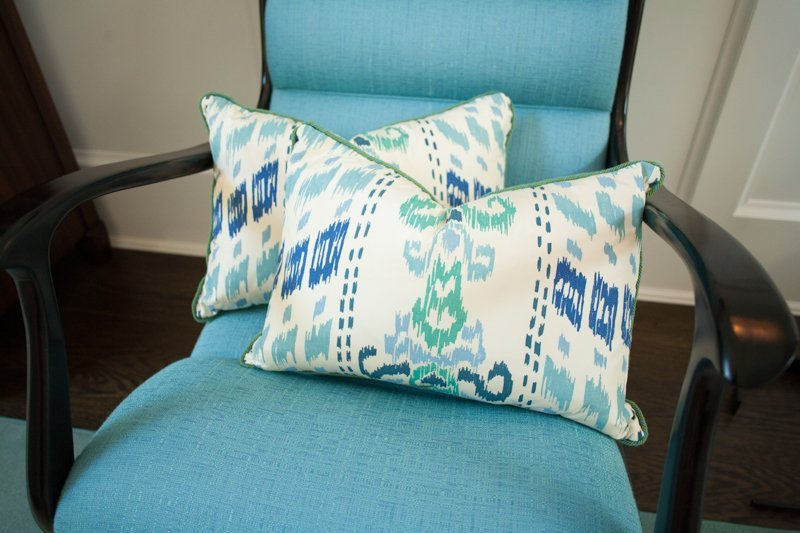 "Two 18""x12"" pillows of silk ikat print"