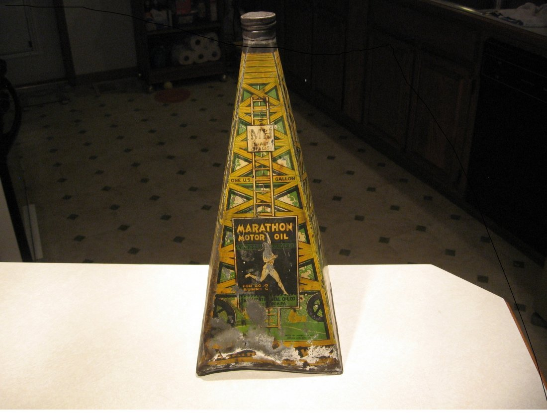 MARATHON OIL PYRAMID STYLE OIL CAN - EXTREMELY RARE!