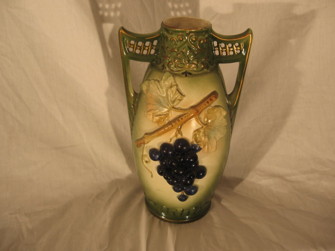VASE - AUSTRIAN - RAISED GRAPES & VINE