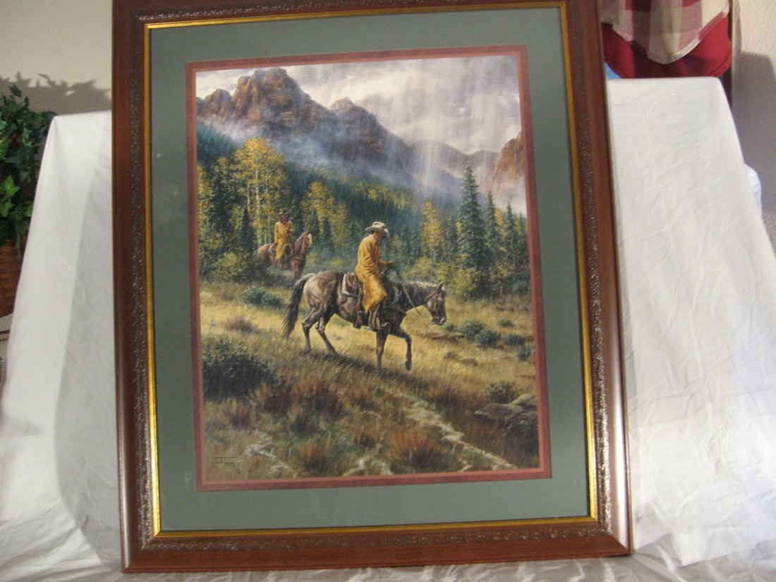 """JACK TERRY """"COWBOYS IN THE RAIN"""" LITHOGRAPH"""