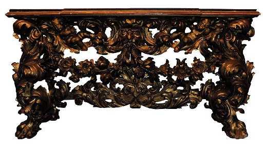 CONSOLE IN STILE LUIGI XV Legno dorato e marmo
