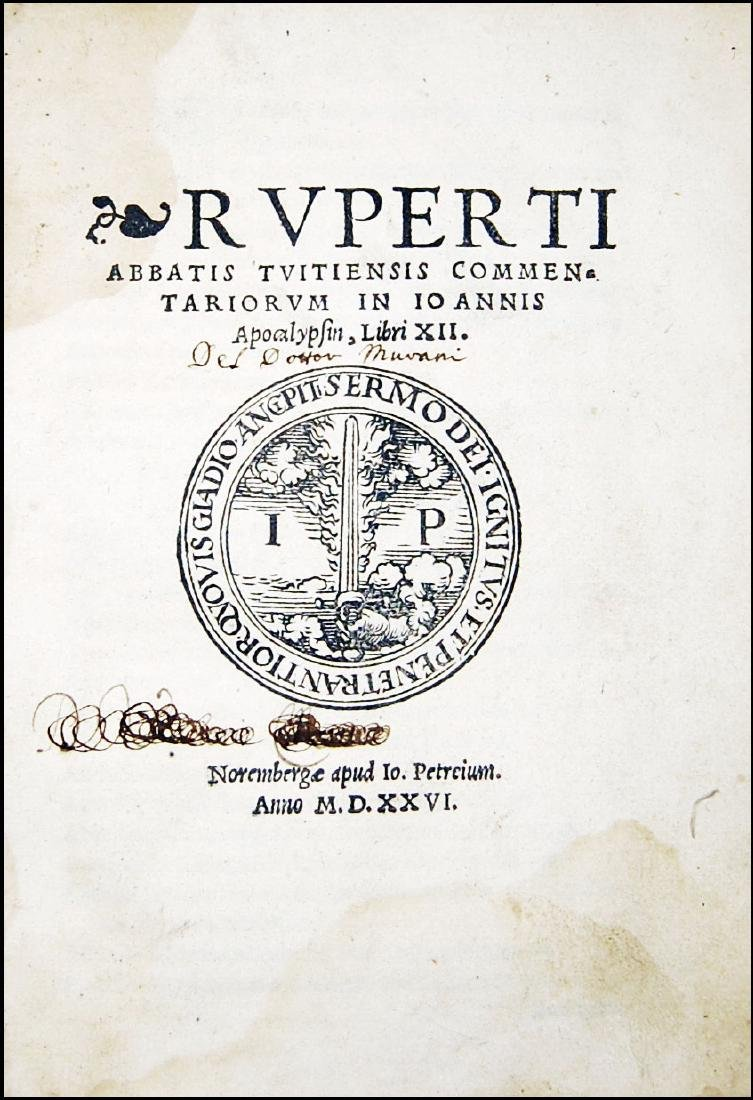 [Gospels, St. John] Rupertus, Commentariorum, 1526
