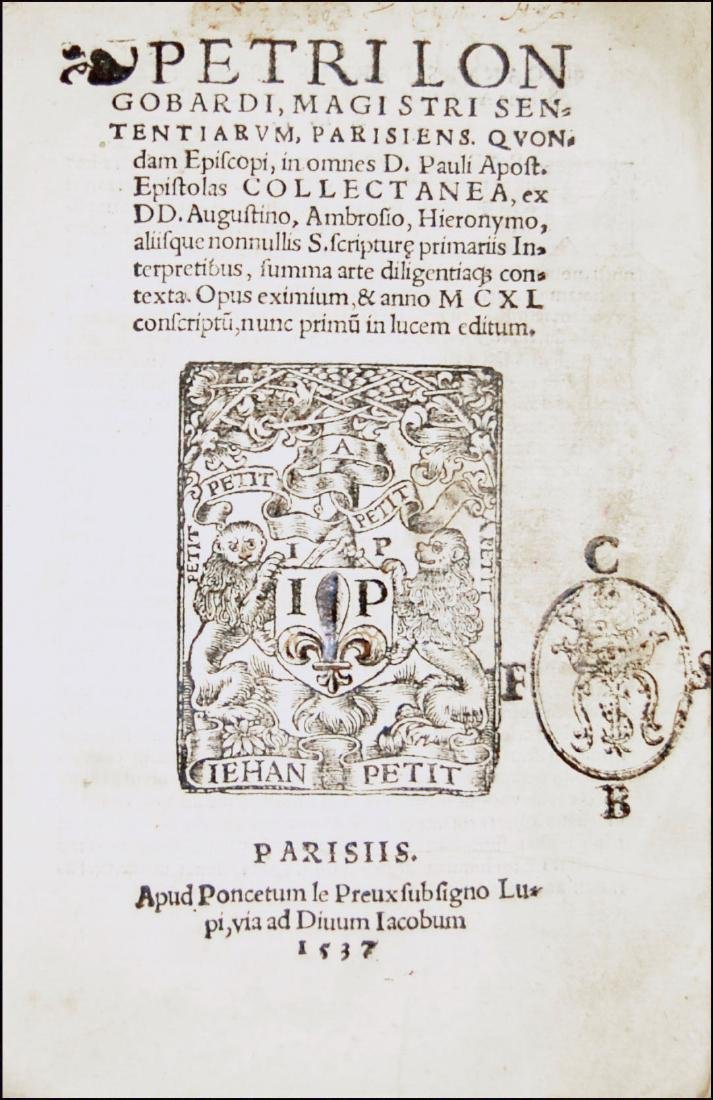 [Epistles, St. Paul] Lombardus, Collectanea, 1537