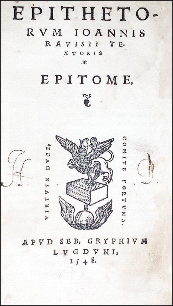 [Epithets] Tixier, Epitheta, 1548