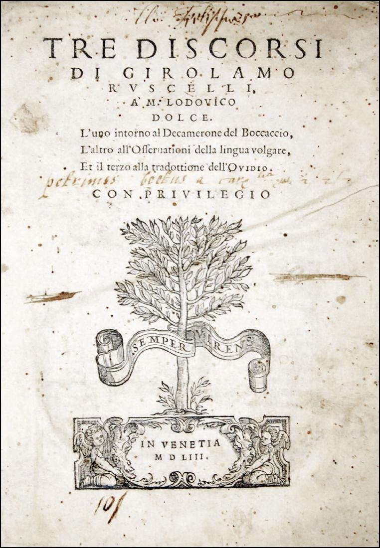 [Literature, Comments] Ruscelli, Tre discorsi, 1553