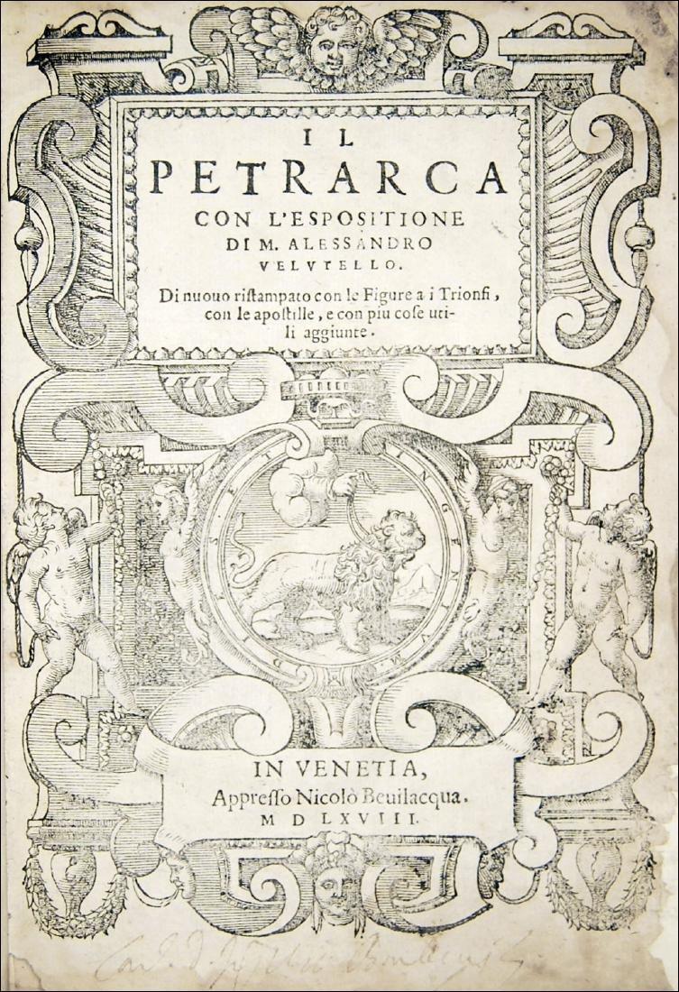 [Poems, Rimes] Petrarca - Vellutello, Il Petrarca, 1568
