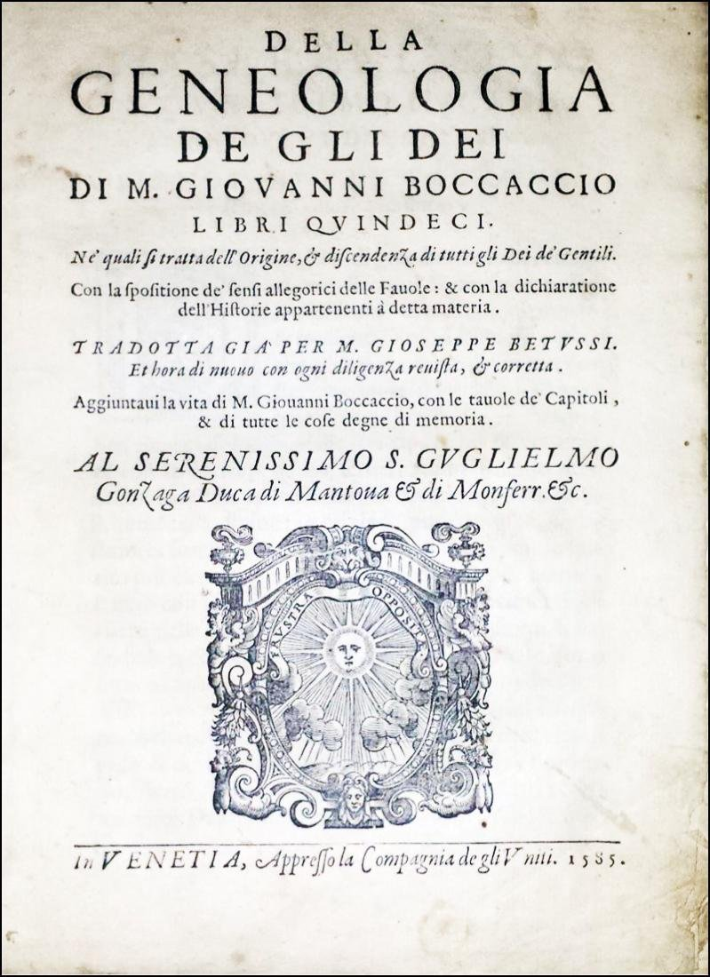 [Greek Mithology] Boccaccio, Genealogia, 1585