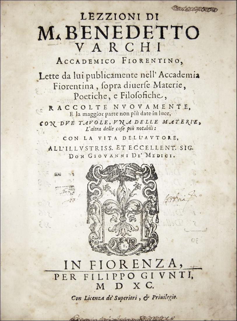 [Erudition, Philosophy, Poetry] Varchi, Lezzioni, 1590