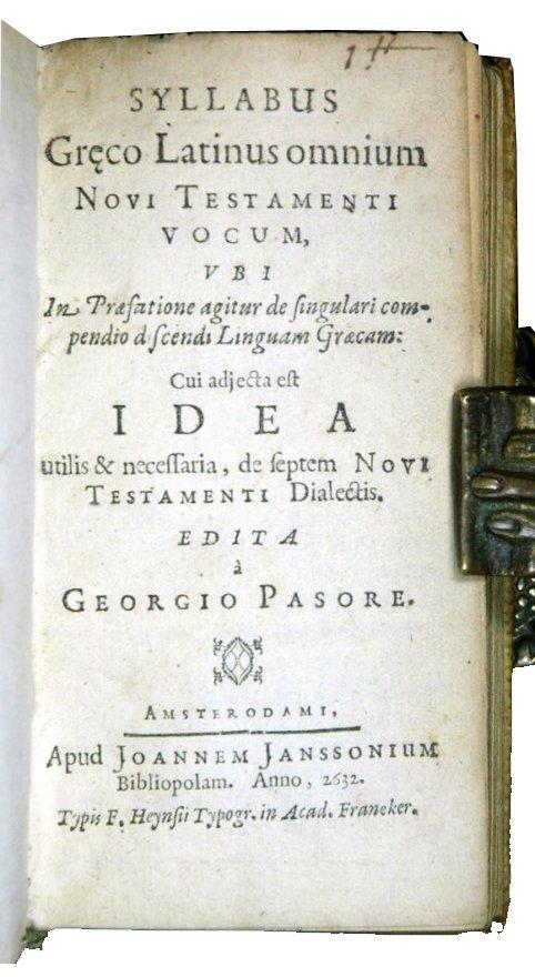 [Gospels, Glossary, Greek, Elzevier] Pasor 1632-64, 2 v - 3