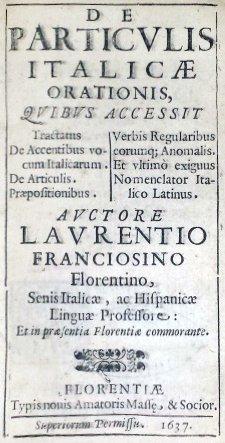 [Italian Grammar] Franciosini, Particulae, 1637 - 2