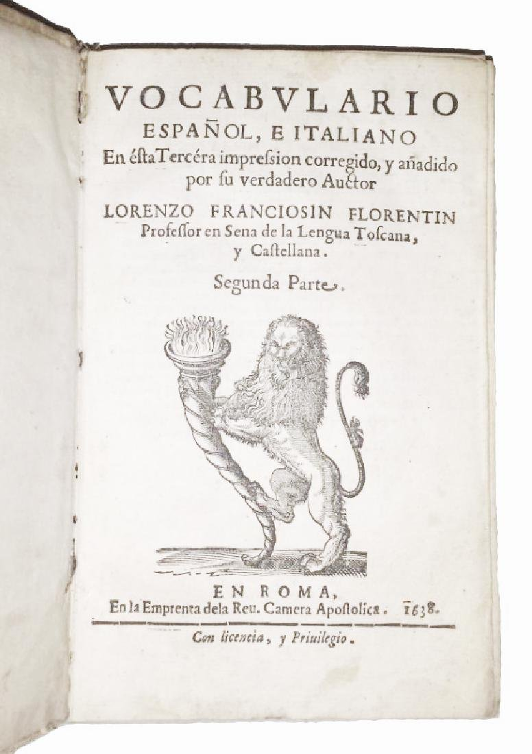 [Spanish Language, Dictionary] Franciosini, 1638, 2 v.