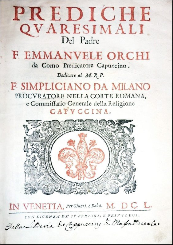 [Homilies & Speeches, Lent] Orchi, Prediche, 1650